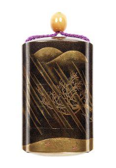 Bonhams : The Edward Wrangham Collection of Japanese Art: Part V Bond Street, Japanese Art, 18th Century, Auction, Boxes, Rain, Tea Caddy, Collection, Black