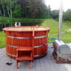 Fire wood heated hot tubs