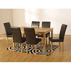 Kitchen Dining Set Sleek Wood Table Furniture Home Xmas Gift Room 6 Chairs for sale online Buy Dining Table, Kitchen Dining Sets, 7 Piece Dining Set, Wooden Dining Tables, Wood Table, Dining Chairs, Room Chairs, Dining Room Furniture Sets, Chairs For Sale