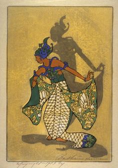 """""""Balinese Dancer"""" By Bertha Lum Woodblock prints (Estampes) 1933 Japanese Painting, Japanese Art, Indonesian Art, Indonesian Women, Bali Painting, Vintage Artwork, Vintage Illustrations, Traditional Paintings, Art Graphique"""