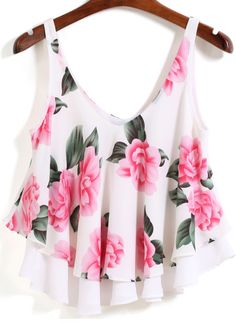 To find out about the White Strap Floral Loose Cami Top at SHEIN, part of our latest Tank Tops & Camis ready to shop online today! Girls Fashion Clothes, Teen Fashion Outfits, Girl Fashion, Crop Top Outfits, Cute Casual Outfits, Loose Fitting Tank Tops, Loose Tank, Loose Shirts, White Crop Top Tank