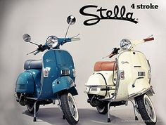 Two Stella scooters for double the adventure via retrorambling.wordpress.com