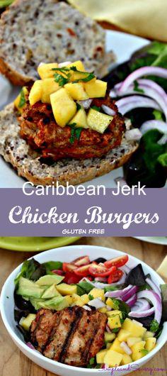 Caribbean Jerk Chicken Burgers with Mango Salsa Dinner gluten free low carb #sundaySupper