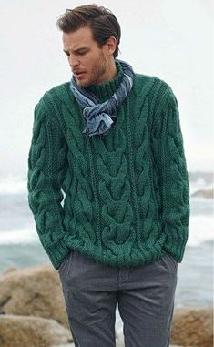 I think Pete would like this! Men's Sweater Hand Knit Fisherman Sweater cable Pattern