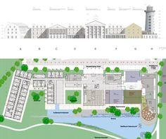 Grundriss und Ansicht der Gebäude
