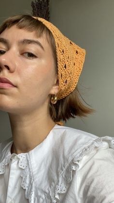 Eyelet Bandana: Enjoy making this Crochet interactive pattern by Made by Kess only on Ribblr with unique tools - available on web & app! Get this pattern now and start crafting! Cute Crochet, Crochet Hooks, Easy Crochet Projects, Crochet Ideas, Bandana Hairstyles, Crochet Slippers, Teen Fashion Outfits, Crochet Blanket Patterns, Crochet Fashion