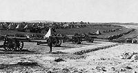 British artillery battery on Mount Scopus in the Battle of Jerusalem, Foreground, a battery of 16 heavy guns. Background, conical tents and support vehicles. Transformers, Aerial Camera, Royal Horse Artillery, Palestine History, Ww1 Soldiers, History Online, Austro Hungarian, British Soldier, World War One