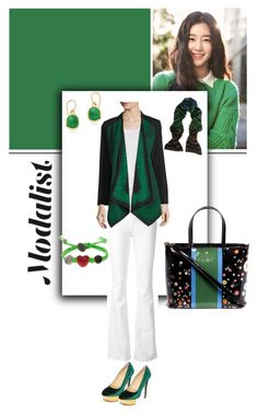 """""""Go Green!"""" by modalist ❤ liked on Polyvore featuring Frame Denim, M Missoni, Ming Wang, Charlotte Olympia, Tory Burch, Monica Vinader and Venessa Arizaga"""