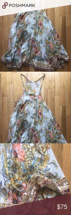 Free People Vintage Summer Dress Free People Vintage Summer Dress with embroidery and sequins. Worn once. Free People Dresses Midi