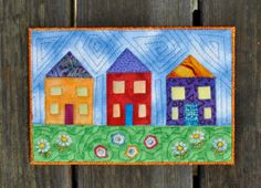 3 Houses Handmade Quilted Fabric Postcard By: Betsy Brown, TootsieLu Designer