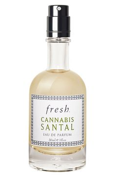 Fresh® 'Cannabis Santal' Eau de Parfum. A sensual, woodsy fragrance that captures the raw energy of desire housed in an artisanal glass bottle. Top notes: bergamot, Brazilian orange, black plum. Middle notes: patchouli, cannabis accord, rose. Bottom notes: chocolate, vetiver, vanilla musk.