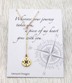 Compass Necklace, Compass Y Necklace, Message Card, Gift for Her, Retirement Farewell Graduation Gift, For Best Friends Sisters Daughters  ✤Gold or Silver Compass : 925 Sterling Silver 13mm x 10mm (including loop). Gold: Natural Bronze compass. ✤ Chain,Clasp and findings : 925 Sterling Silver / 14k gold filled  *********************************** ✤ Ready to Order? ✤  ✤ Necklace length: Please choose your choice of length in SELECT AN OPTION. ex) 17 + 1.75 dangle means 17 neckline plus 1....