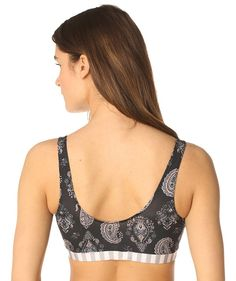eco friendly bras & intimates // MAJAMAS // comfy supportive black paisley printed bra made from recycled performance fabric with stretch elastic, no clasps, & removable pads for everyday, low-impact workout or yoga // be the change & learn to love ecofashion intimates & USA MADE // wear beautiful clothing that doesn't harm our beautiful planet