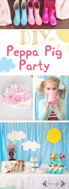 DIY Peppa Pig Birthday Party Get Blue table cloth and poster board for blackground Photo Booth