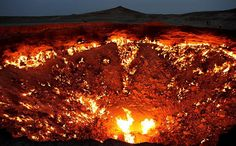 In 1971, geologists discovered a 300-feet-wide gas-filled cavern in the Karakum Desert,  Turkmenistan, Central Asia. Fearing the gas would seep into the village, they decided to burn the methane instead. It's still burning to this day.
