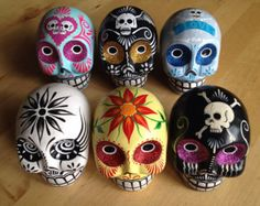REDUCED! YOUR CHOICE! Hand Painted Ceramic Sugar Skulls Day of the Dead Dia de los Muertos Decor Halloween gift xmas christmas