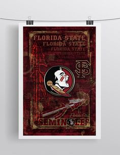 Florida State Seminoles Poster, Florida State Gift, Seminoles Man Cave, Florida State Print, FSU