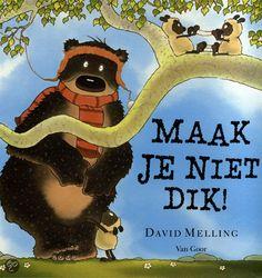 David Melling - Maak Je Niet Dik! || Van Goor 2012, 30 pagina's || Prentenboek top 10 voor De Nationale Voorleesdagen 2014 || Dorus krijgt een nieuwe wollen muts van zijn vader. Hij rent naar buiten om ermee te pronken. In zijn opwinding beseft hij niet dat de muts begint te rafelen. Nu is zijn muts kapot! Dorus' vrienden proberen hem op te beuren. Gelukkig weet papa altijd raad. || http://www.bol.com/nl/p/maak-je-niet-dik/1001004011806583/
