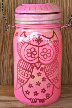 Owl Mason Jar Light Outdoor Solar Light Canning Jar por LucentJane, $30.00