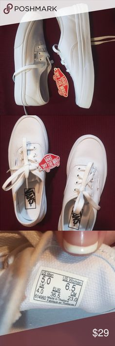 NEW White Vans Never worn white Vans, tags still attached, no stains or scuffs, Authentic; Women's 6.5 and Men's 5     *BONUS*: I will spray them with special stain resistant spray  if requested at no additional charge (I bought it for my white Converse and it worked amazingly) Vans Shoes Sneakers