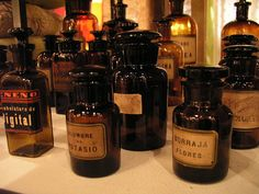 """heartofwitch: """" Antique Apothecary Bottles (by HiperOranz) """" Apothecary Bottles, Vintage Bottles, Recycled Bottles, Vintage Tins, Bottles And Jars, Vintage Antiques, Perfume Bottles, Medicine Bottles, Bottle Design"""