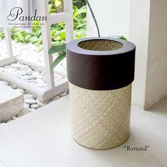 パンダンで編まれたアジアンごみ箱 丸型 ラウンド ナチュラル ブラウン
