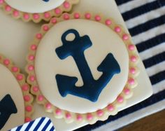 Items similar to Navy & Pink Anchor Decorated Sugar Cookies (12) on Etsy