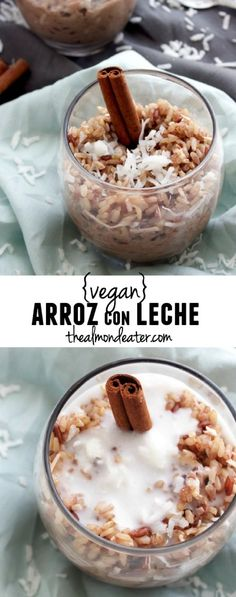 Brown rice+coconut milk make this the most delicious VEGAN arroz con leche recipe!!