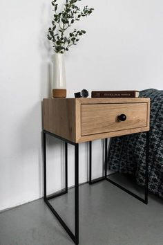 The impact of bedroom furniture will make you have a good night's sleep. Let's face it, and a modern bedroom furniture design can easily make it happen. Industrial Bedroom Furniture, Industrial Interiors, Industrial Style, Modern Furniture, Furniture Design, Cheap Furniture, Furniture Ideas, End Tables, Bedroom Decor
