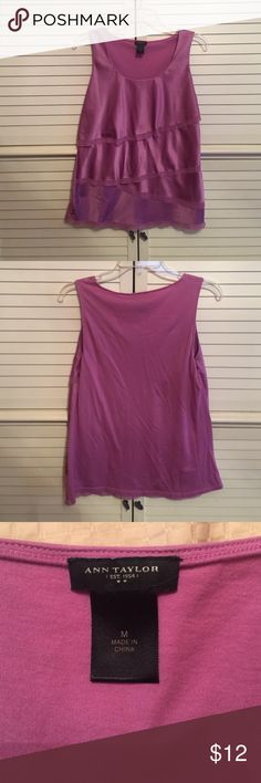 Ann Taylor sleeveless, tiered top Ann Taylor sleeveless, tiered top. Lavender color. Would like great dressed up or down with jeans! Ann Taylor Tops