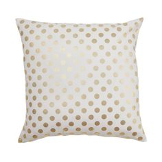 A classic gold dot will make any space pop! Gold foil printed on Cotton Canvas Knife Edge Construction Zipper on bottom/Insert not included Country of Finish USA Do not iron