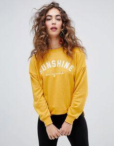 "e0346dddcdb21a AFFILIATELINK | New Look – Sweatshirt mit Aufschrift ""Sunshine"", dress  flowers, autumn"