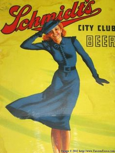 """Tavern Trove : Schmidt's City Club Beer sign from 1940.  """"Girl in the Wind"""""""