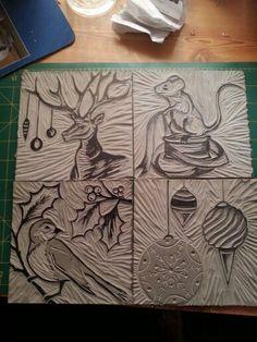 Lino blocks for cards 2014 by Lorralei Burton   Handprinted...