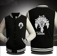 For The Horde Sweatshirt For Teens Black Baseball Jackets For Mens 2XL