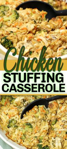 casserole recipes This CHICKEN STUFFING CASSEROLE recipe is a hassle-free delicious 45 minute casserole dish. With chicken, stuffing, broccoli and a few other simple ingredients - its so comforting and uses up those holiday leftovers. Chicken Stuffing Casserole, Stuffing Recipes, Simple Chicken Casserole, Chicken With Stuffing, Leftover Chicken Casserole, Meatloaf Recipes, Crock Pot Recipes, Cooking Recipes, Healthy Recipes