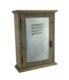 Locked In 13 in. Tall Wood & Metal Wall Mounted Key Locker Cabinet - Zeckos
