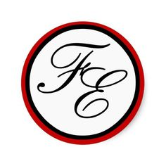 Elegant Black & White Monogram Wedding Seal Red Round Sticker