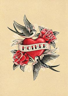 LOVE OF MOTHER. Old School Tattoo by Crixtina