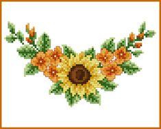 Cross Stitch Borders Sunflower Corner Cross Stitch Pattern by QuaintQuill on Etsy - Cross Stitch Tree, Cross Stitch Borders, Cross Stitch Flowers, Cross Stitch Charts, Cross Stitching, Cross Stitch Embroidery, Embroidery Patterns, Cross Stitch Patterns, Sunflower Flower