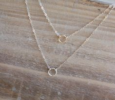 Layered Necklace - Tiny Eternity Circles Necklace - Double Chain Necklace - Mixed Metal - Gold and Silver