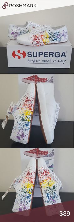 SUPERGA Leather Paint Lace-Up Sneakers 8-8.5M (39) Superga It's by SAM Paint Splatter Leather Sneaker  Some classics never go out of style. Superga brings you the sneaker profile you know and love with the Italian design your fashion taste craves. Pair them with all of your active favorites for a sneaker that's a step in the right direction. DESCRIPTION: Upper:White leather; multicolor paint splatter detail Closure:Lace-up with metal logo grommets Lining: Cotton fabric Insole:Padded Sole…