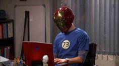 Sheldon in an Ironman helmet