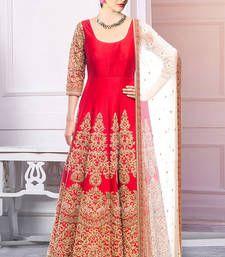 Buy Red embroidered bhagalpuri silk semistitched salwar with dupatta party-wear-salwar-kameez online