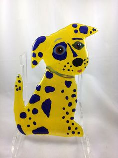 Lemon yellow cobalt blue fused glass pup wall by Enidtraisman, $38.00