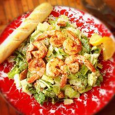 Yummy blackened shrimp Caesar salad! #lunch #caesarsalad #shrimp #carolinesgourmet