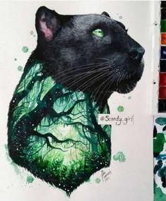 black panther Art Print by Jonna Lamminaho Fantasy Kunst, Fantasy Art, Animal Drawings, Cool Drawings, Cat Art, Art Sketches, Amazing Art, Awesome, Painting & Drawing