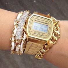 Casio watch and bracelets http://www.amazon.com/Casio-Dress-Digital-Watch-A168WG9/dp/B002LAS086/ref=sr_1_4?s=watches=UTF8=1377110521=1-4
