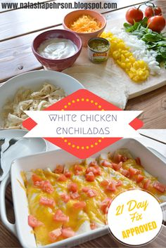 21 Day Fix Approved White Chicken Enchiladas.  Definitely going to make this when I am craving Mexican food!