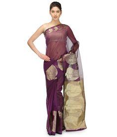 Bunkar Purple Supernet Saree
